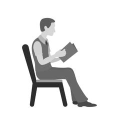Sitting Man Reading vector
