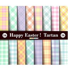 sixteen set easter tartan seamless patterns vector image