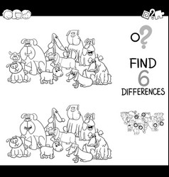 Spot difference with dogs coloring book vector