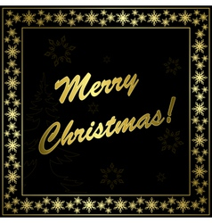 Square black christmas card with gold frame vector