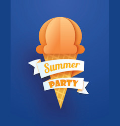Summer party poster with ice cream cone on blue vector