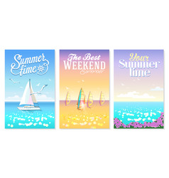 summer set posters seascapes with bay yacht vector image