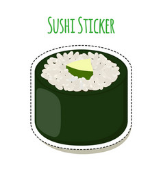 sushi sticker asian food with fish rice seaweed vector image