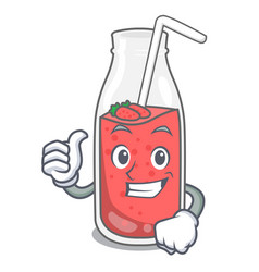 thumbs up strawberry smoothie character cartoon vector image