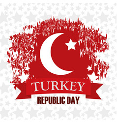 Turkey republic day star background flag country vector