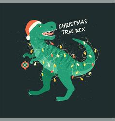 tyrannosaurus christmas tree rex card dinosaur in vector image