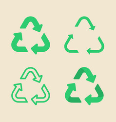 universal recycling symbol flat icon set vector image