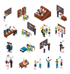 University students isometric set vector