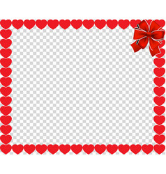 valentines day border with hearts and ribbon vector image
