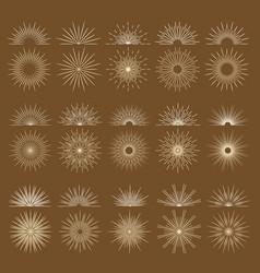 vintage bursting rays firework flat icons set vector image
