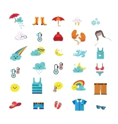 Weather icons and seasonal clothes vector