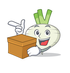 With box turnip character cartoon style vector