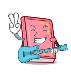 With guitar diary mascot cartoon style vector