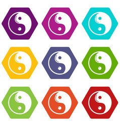 Yin yang symbol taoism icons set 9 vector
