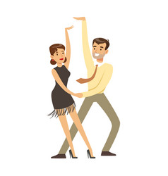 young couple dancing colorful character vector image