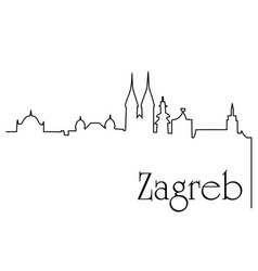 zagreb city one line drawing background vector image