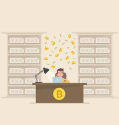 a young man makes money on bitcoin vector image vector image