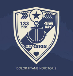 navy patch with anchor vector image