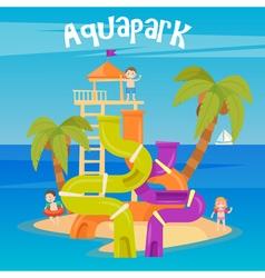 Water Park Summer Vacation Fun Aquapark Water Hill vector image
