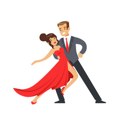young happy couple dancing colorful character vector image