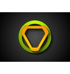 Abstract green orange geometric logo design vector