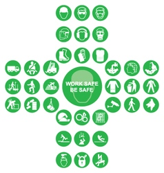 Green cruciform health and safety icon collection vector image vector image