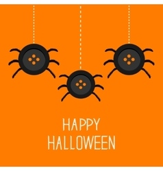 Three cute hanging button spiders on web happy vector