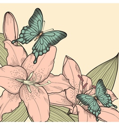 background for card with butterflies lily leaves vector image