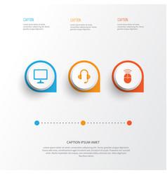 digital icons set collection of earphone desktop vector image vector image