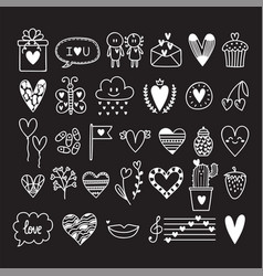 hand drawn set of cute romantic doodle elements vector image vector image