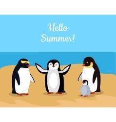 Hello summer funny emperor penguins family vector