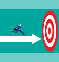 businessman running on arrow to the target vector image