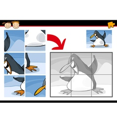 cartoon penguin jigsaw puzzle game vector image vector image