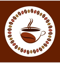 cup of hot coffee with coffee bean frame vector image