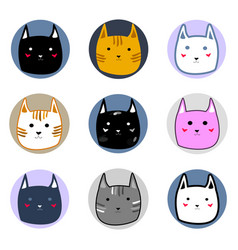 different cute colorful cat faces in circles vector image