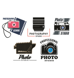 icons set for photo studio school vector image vector image