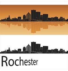 Rochester skyline in orange background vector image