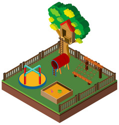 3d design for playground with treehouse vector image