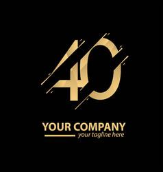 40 year anniversary luxury gold template design vector