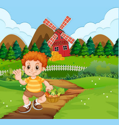 A boy with vegetable basket at farm vector