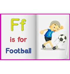 A picture of football in book vector