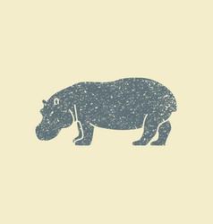 a silhouette of hippopotamus vector image
