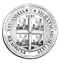An old colony seal of new plymouth vintage vector