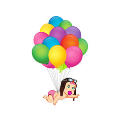 Baby girl coming on bunch of helium balloons in vector
