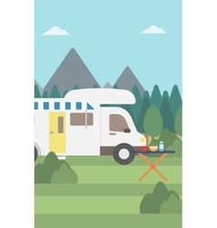 Background of motorhome in the forest vector
