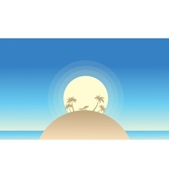 Beautiful island landscape of silhouette vector