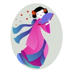 beautiful of a geisha in pink kimono vector image