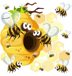 Bees flying around the beehive vector image vector image