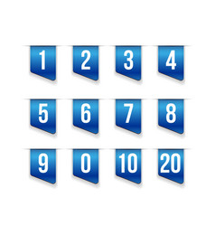 Blue ribbons with number set vector image