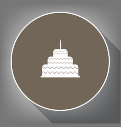 Cake with candle sign white icon on brown vector